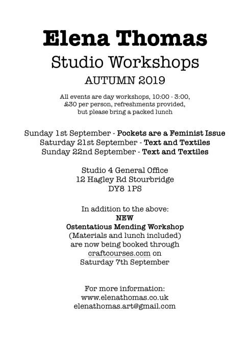 workshops flyer a4 summer 2019